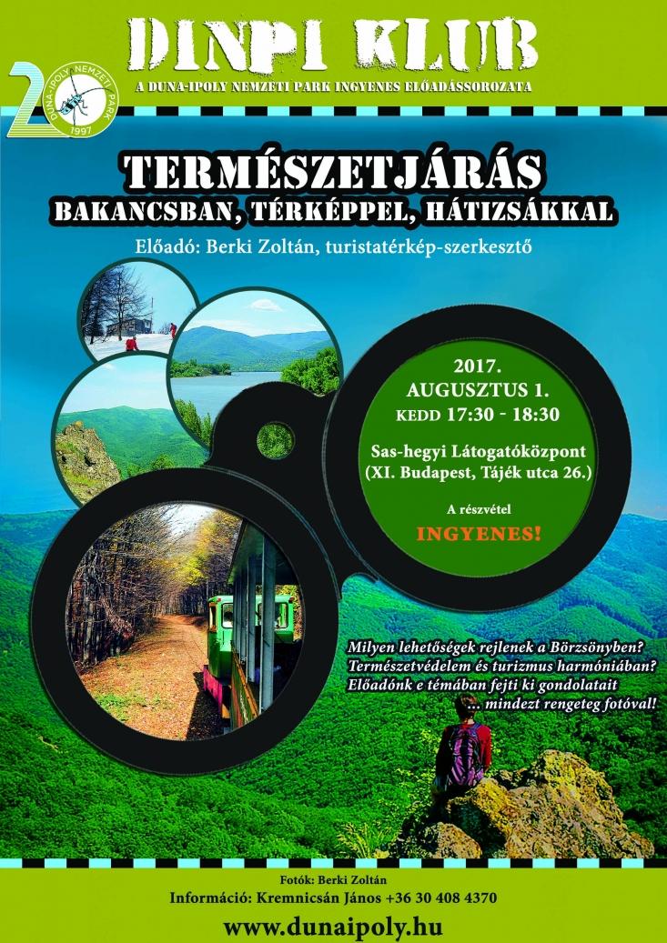 DINPI Klub: Természetjárás bakancsban, térképpel, hátizsákkal (Plakát: Kálmán Gergely)