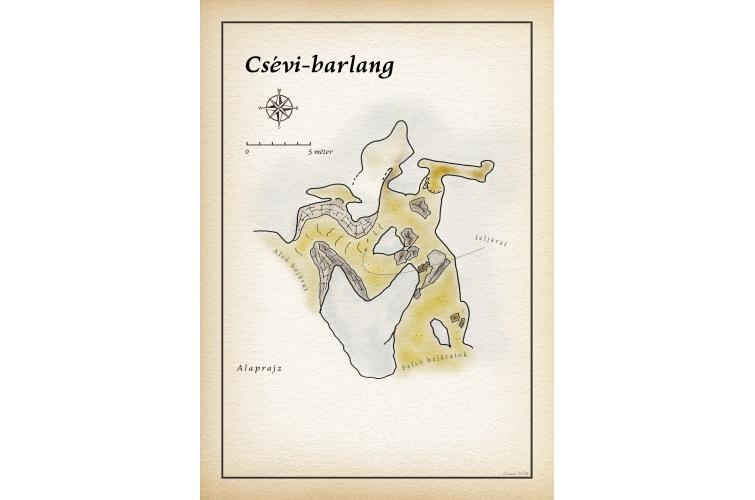 Csévi-barlang térkép