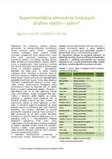 ROSALIA kézikönyvek 3. szlovák nyelvű összefoglalója: Experimentálna eliminácia inváznych druhov rastlín – súhrn