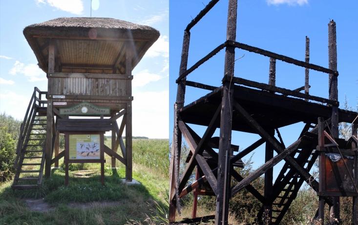 A dinnyési madármegfigyelő-torony a tűz előtt, és után (Fotók: Kálmán Gergely és Kiss Péter)