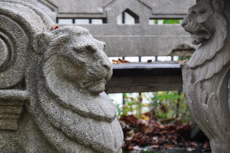 Oroszlános pad a Jókai-kertben (Fotó: Csonka Zs.)